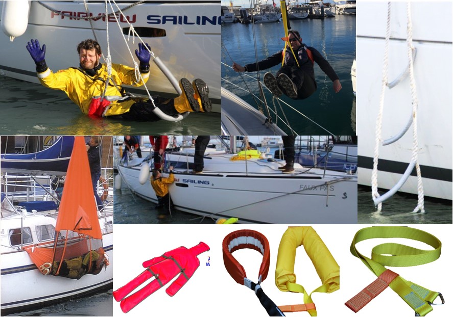 collage of different MOB man overboard equipment being used