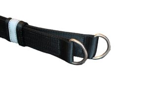 Picture of the I C Brindle Survivor strop D Rings and woggle on a white background