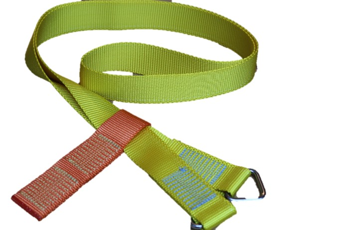 Jimmy Green MOB Man Overboard Rescue strop. Yellow webbing with stainless steel triangles