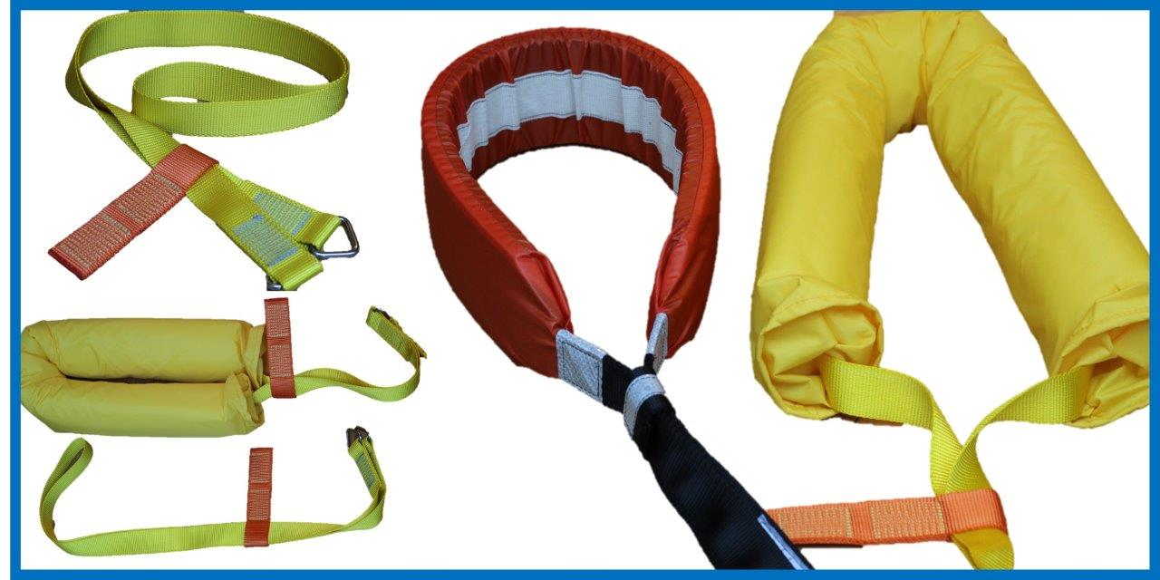 Three Manoverboard recovery strops shown side by side