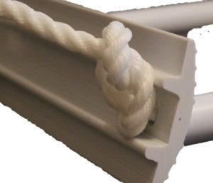 Picture of a knot holding the tread onto the 5 step emergency ladder from Force 4 chandlery. No background