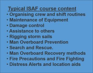 Picture of a typical agenda from the RYA / ISAF Coastal Safety one day course. Black text on blue backgground.