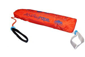 Picture of TREM security rope equipment for rescuing Man Overboards. on white background. Orange bag, white loop. bloack loop. orange rope